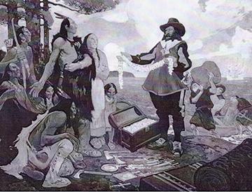 Samuel de Champlain faisant du commerce avec des Amérindiens. Huile sur toile de C. W. Jefferys. (Bibliothèque et Archives Canada c103059)