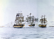 «MacDonough's Victory on Lake Champlain, 1814» Aquarelle d'Edward Tufnell. Source: Navy Art Collection