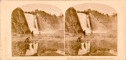 William England (Londres, Angleterre, 1816-1896), La Chute Montmorency, no 112 de North American Series, 1859, tirage 1860; épreuve à l'albumine argentique sur carton ivoire, 8,3 x 17,4 cm. MNBAQ, don de Patrick Altman, 2008.17.