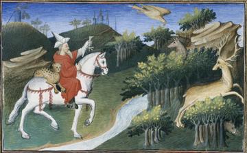 L'empereur Kubilaï Khan lâchant son faucon de chasse. (C Le Livre des merveilles, folio 31v, Bibliothèque nationale de France).
