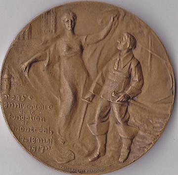 Avers de la médaille du 275e anniversaire de la fondation de Montréal en 1917