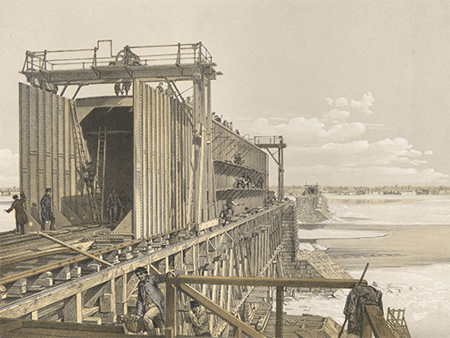 Kell Brothers, d'après S. Russell, d'après William Notman, «La construction du tube central du pont Victoria en hiver». (Photo: MNBAQ Denis Legendre)