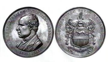 Avers et revers de la médaille de sir Georges-Étienne Cartier (Coll. Yves Beauregard)