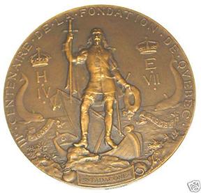 Avers de la médaille du tricentenaire de Québec, œuvre d'Eugène-Étienne Taché et Henri Dubois. (Coll. de l'auteur)